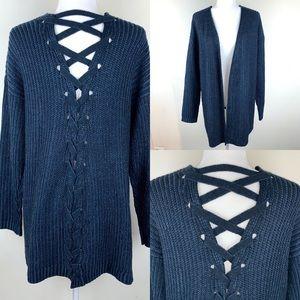 Vanilla Star Open Front Tie Back Cardigan Sweater